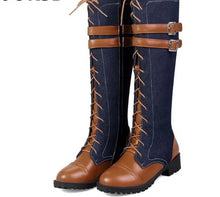 Load image into Gallery viewer, Low-heeled Denim belt buckle Mid Calf Boots - kats closet1