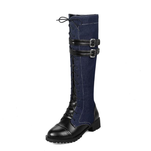 Low-heeled Denim belt buckle Mid Calf Boots - kats closet1