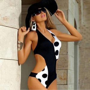 One Piece  Black-White Backless Swimsuit