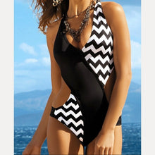 Load image into Gallery viewer, One Piece  Black-White Backless Swimsuit