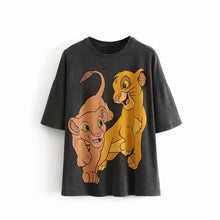 Load image into Gallery viewer, Cartoon Little Lion Print O-Neck Cotton Shirt