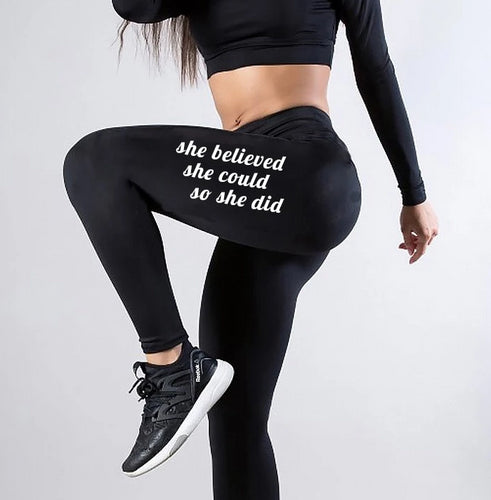 Black Fitness Letter Print Work Out Leggings
