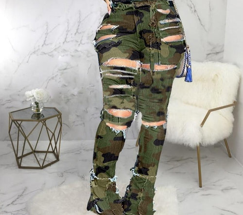 Flare High Waist Distressed Ripped Camouflage Jeans