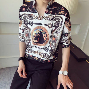 Palace Vintage Shirt Men 2018 Summer Fashion Designer Gold Male Shirt Homme Camisetas Hombre Standcollar Pullover Shirt V Shape - kats closet1