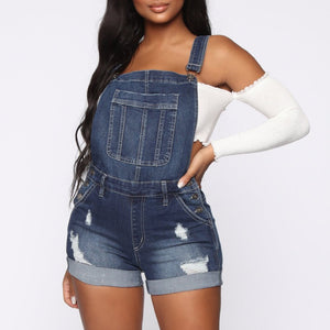 Washed Button Denim Blue Overalls Ripped Hole Slim Jean Short Jumpsuit
