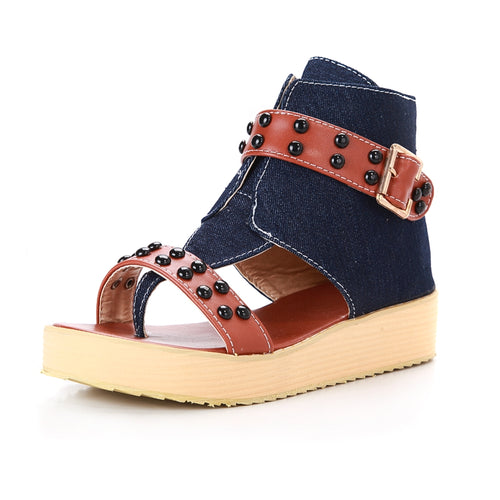 Fashion Rome Style Ankle Strap Comfort Bottom Wedge Sandals