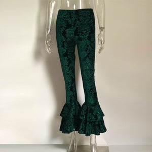 Velour Print Flare Bell Bottom Casual High Waist Stretch Pants