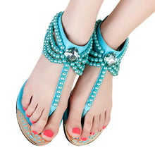 Load image into Gallery viewer, HEE GRAND Bling Beading Sandals T-Strap With Pearls - kats closet1
