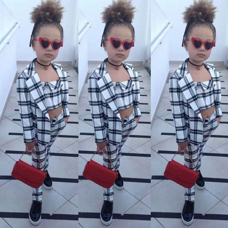 3 Piece Plaid Vest + Coats + Pants Suit Sets