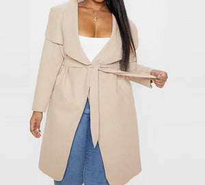Oversized Suit Collar Solid Color Large Long Coat