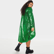 Load image into Gallery viewer, Plus Size High Split Long Sleeve Sequin Solid Classic-fit Long Cardigan Coat