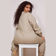 Load image into Gallery viewer, Plus Size Solid Long Sleeve Loose Elastic Waist  One Piece Jumpsuit