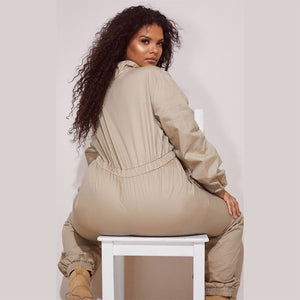 Plus Size Solid Long Sleeve Loose Elastic Waist  One Piece Jumpsuit