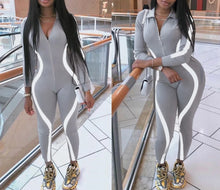 Load image into Gallery viewer, Skinny Reflective Striped Fitness Bodysuit