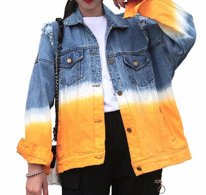 Fashion Turn Down Collar Single Breasted Denim Jacket - kats closet1