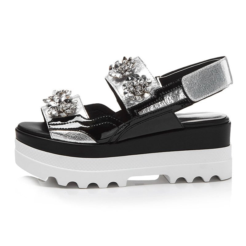 Rhinestone Peep Toe Thick Bottom Silver Color Sandals