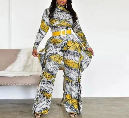 Snake Print High Neck Flounced Ruffled Jumpsuit Without Belt