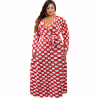Plus Size V Neck Wave Point Print Maxi Dress