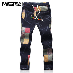 MISNIKI 2017 Summer Designer Linen Pants Men Printing Casual Jogger Pants Boys - kats closet1