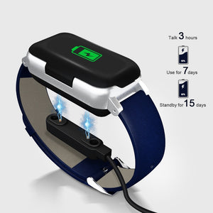 Wireless Bluetooth Earphones 5.0 Fitness Bracelet Heart Rate Monitor Sport Watch Headphone For IOS Android Phone