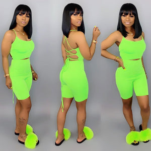 Green Two Piece Set Strap Back Lace Up Crop Top And Shorts