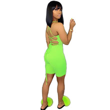 Load image into Gallery viewer, Green Two Piece Set Strap Back Lace Up Crop Top And Shorts