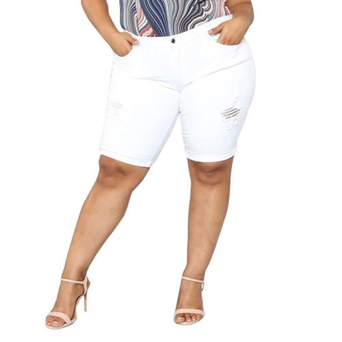 Plus Size Loose Denim Middle Waist Stretch Shorts - kats closet1
