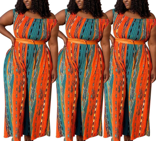 Plus Size Striped Print Off Shoulder Wide Leg Loose One Piece Long Jumpsuit