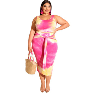 2 Piece Plus Size Tie Dye Print Tight Fitting Casual Top And Skirt Set