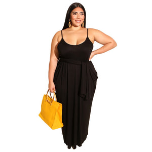 Plus Size Spaghetti Strap Backless Loose Maxi Dress With Belt