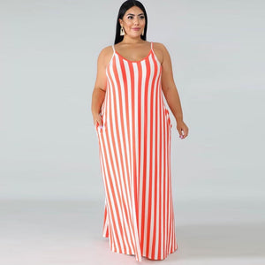 Plus Size Spaghetti Strap Striped Backless Loose Maxi Dress