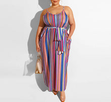 Load image into Gallery viewer, Plus Size Spaghetti Strap Striped Backless Loose Maxi Dress