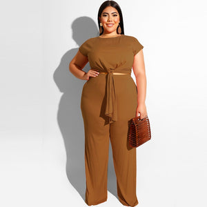 Plus Size Two Piece Casual Bandage Tops And Straight Long Pants Set