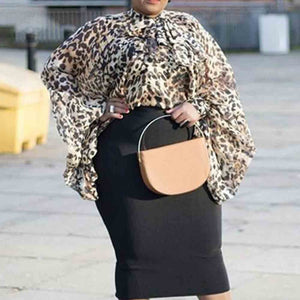 Leopard Lantern Long Sleeve Plus Size Loose Blouse