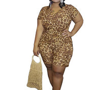 Load image into Gallery viewer, Leopard Print Plus Size 2 Piece Short Sleeve Top And Shorts