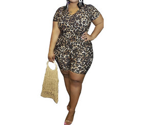 Leopard Print Plus Size 2 Piece Short Sleeve Top And Shorts