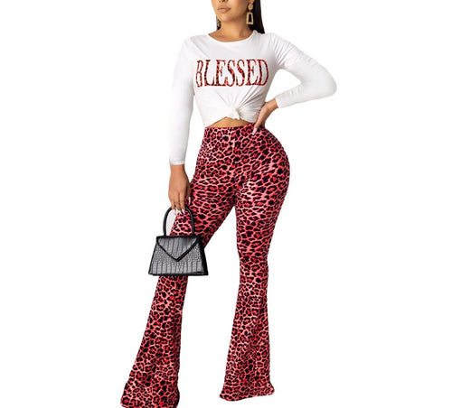 Letter Leopard Vintage 2 Piece O Neck Long Sleeve T Shirt + High Waist  Flare Pants