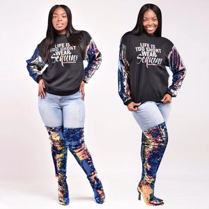 Letter Printed And Sequined Patchwork Long Sleeve Pullover Sweatshirt - kats closet1