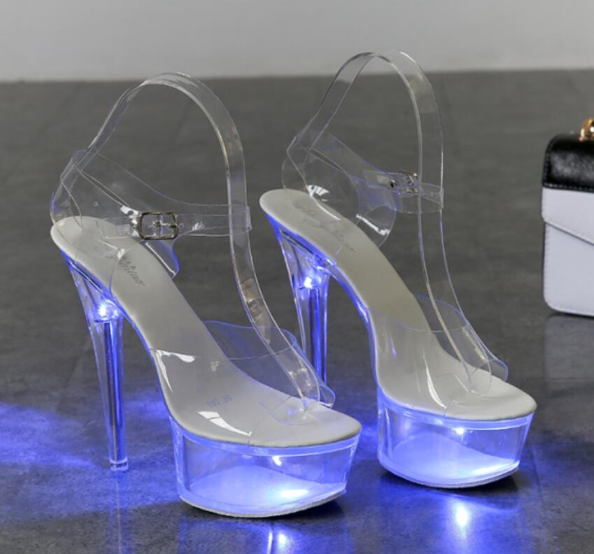 Light Up Glowing Luminous Platform Clear High Heel Shoes