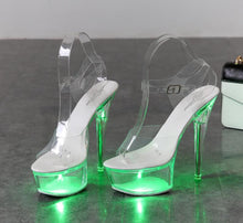 Load image into Gallery viewer, Light Up Glowing Luminous Platform Clear High Heel Shoes