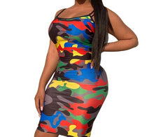 Load image into Gallery viewer, Camouflage Spaghetti Strap Backless Dress