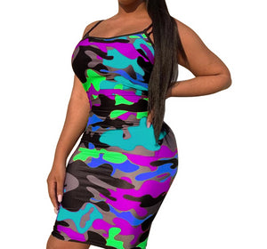 Camouflage Spaghetti Strap Backless Dress