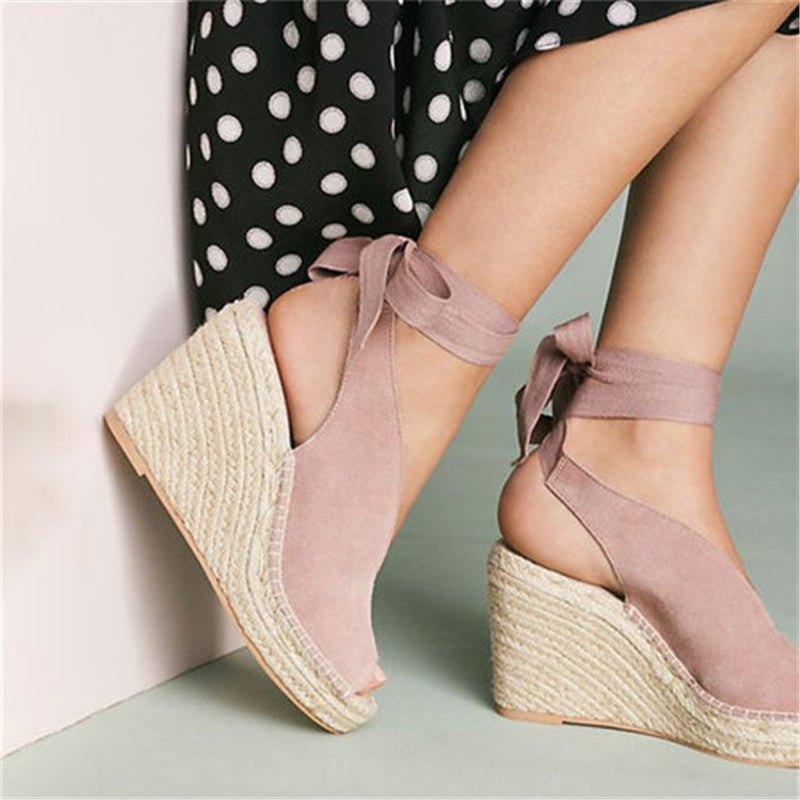 High Heel Wedge Open Toe Lace Up