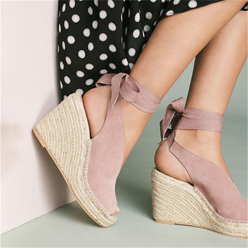 High Heel Wedge Open Toe Lace Up Sandals