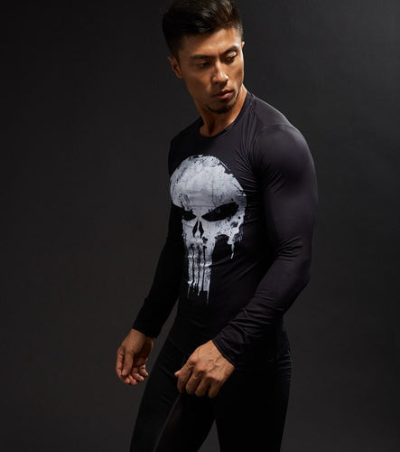 Long Sleeve 3D Crossfit MMA Punisher Compression Shirt - kats closet1