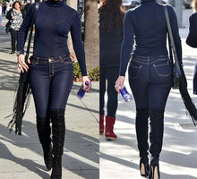 Load image into Gallery viewer, Long Sleeve Blue Tops And Denim Pants Slim Jumpsuit