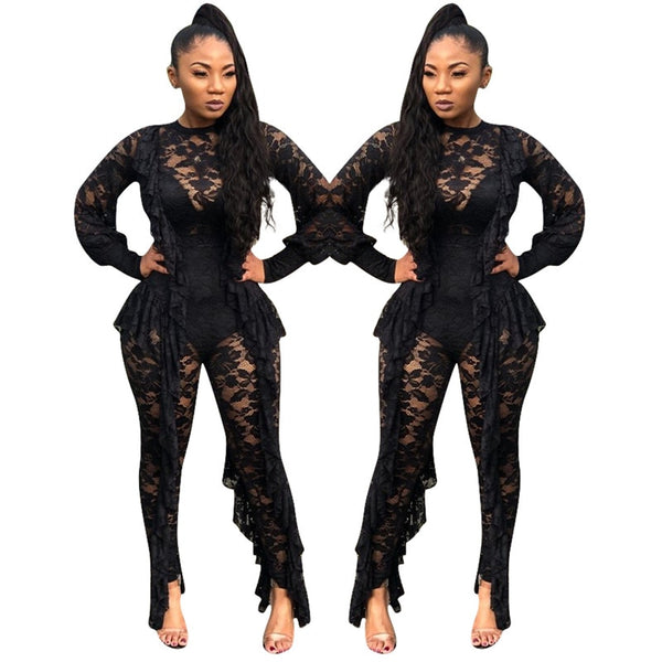 Long Sleeve Sheer Black Lace See Through Ruffle Jumpsuit