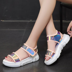 Mixed Colors Comfort Flat Platform Sandals
