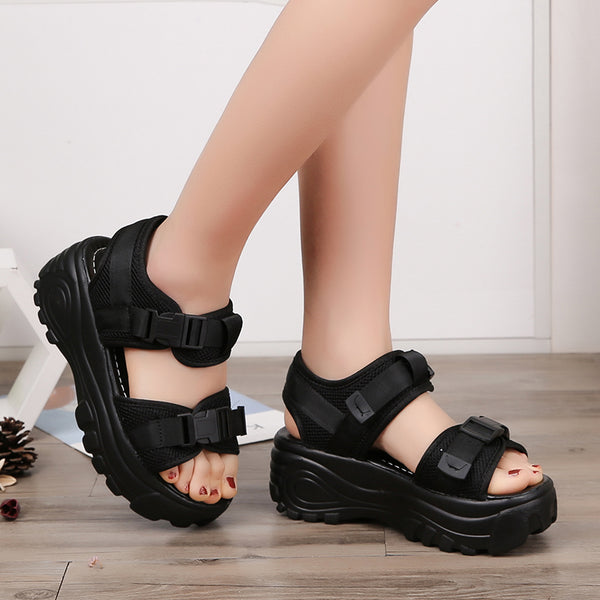 Platform Wedges Open Toe Thick Soled Sandals - kats closet1