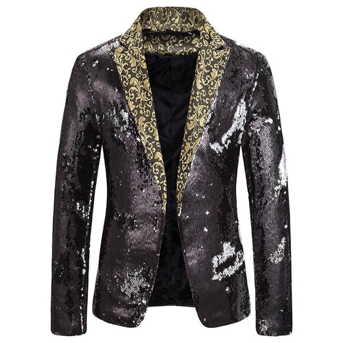 2 Color Sequin Glitter Blazer Jacket